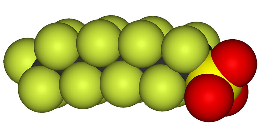 A space filling model of PFOS is seen in this image. Photo by Wikipedia/public domain.