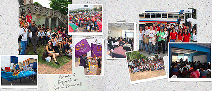 Images depict students and faculty members involved in research in Honduras, Costa Rica and El Salvador.