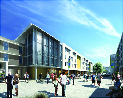 Buildings along UC Merced's new Academic Walk will feature classrooms and meeting spaces on the ground floors and student residences on the upper levels.