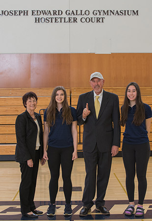 Chancellor Dorothy Leland, Jessica Pinasco, Greg Hostetler and Jade Fachin