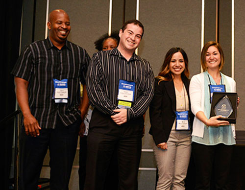 Staff members receive national honor at the NACE Annual Conference Innovation Showcase Awards ceremony in Anaheim.