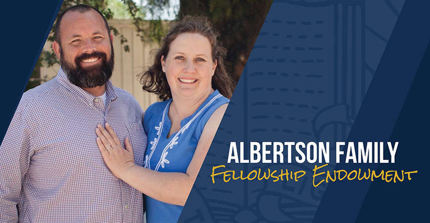 Trevor and Katherine Albertson have created the Albertson Family Fellowship Fund, making Albertson the first UC Merced alumnus to endow a fellowship.