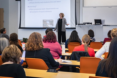 Faculty, staff and students listened as Mitchneck discussed the six-step recipe to help universities devise a plan to encourage gender equitability.
