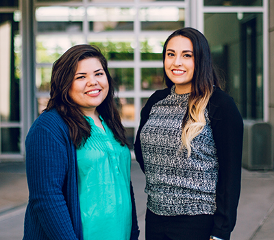 Carisza Lenaburg (left) and Stephanie Ruiz are UC Merced's first CalTeach graduates.
