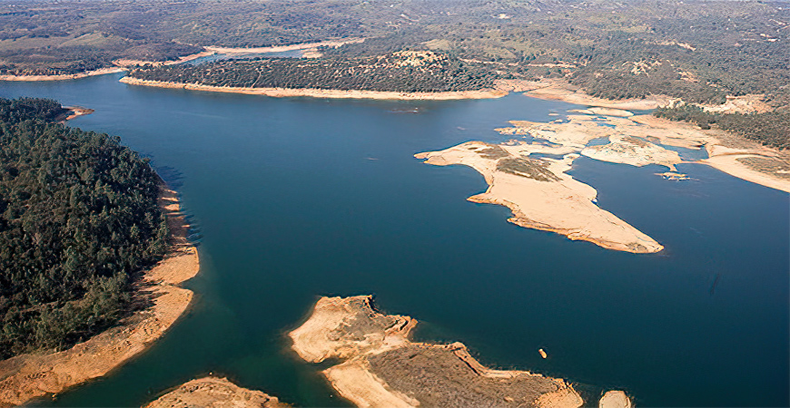 An aerial view of Camanche Reservoir.