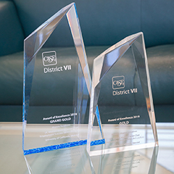 Two crystal awards are displayed on a tabletop.