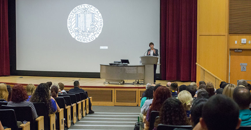 Chancellor Dorothy Leland addresses staff members during last year's convocation.