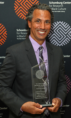 Professor Kevin Dawson with the Harriet Tubman Prize at the Lapidus Center in New York.
