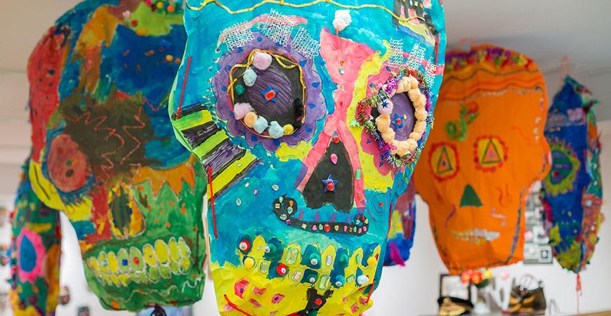 Skulls, or calaveras in Spanish, are a traditional symbol of Dia de los Muertos.