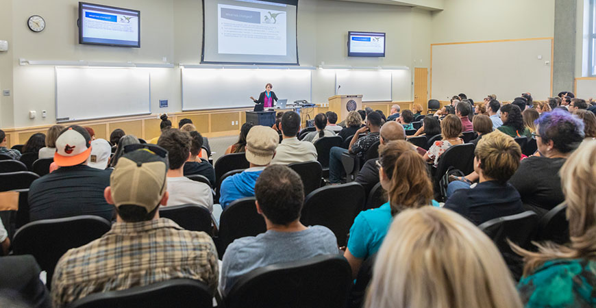 Donna Riley of Purdue University addresses a packed house at UC Merced, where she discussed the root causes of inequality in STEM.