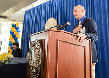 UC Merced Alumni Association President Keith Ellis at last month's scholarship signing ceremony.