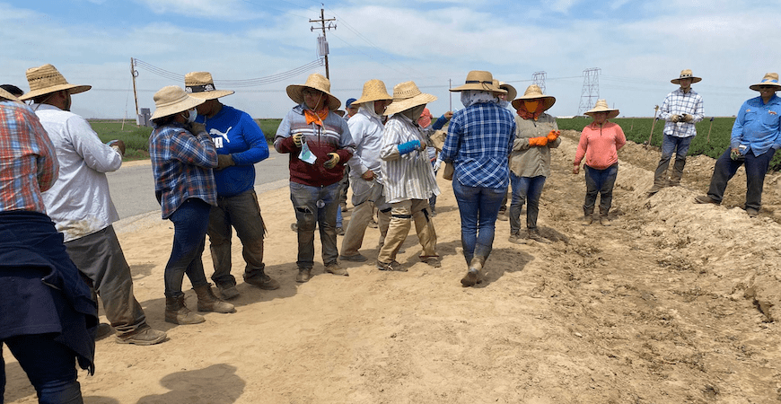 Farmworkers receive facial coverings amid the COVID-19 pandemic.