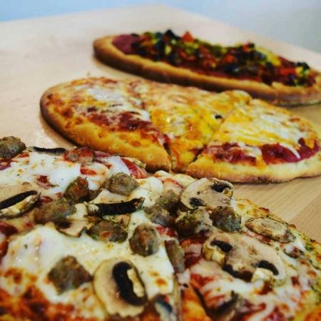 Three flatbread pizzas