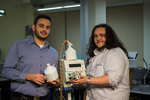 Michael Urner, right, and Paul Bargouth continued forward with their capstone project to build better infant ventilators, and are now running a startup with help from the UC Merced Venture Lab.