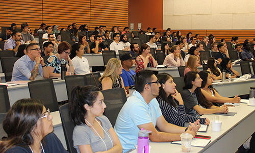 Incoming grad students attend last year's Graduate Orientation Week welcome address. This year's welcome was held on Zoom, but it was well attended and successful.
