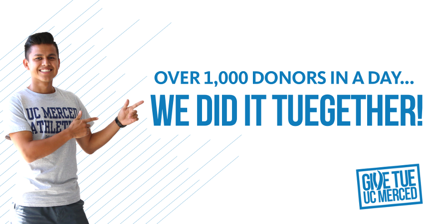 UC Merced had over 1,000 donors contribute to the Give Tue UC Merced campaign