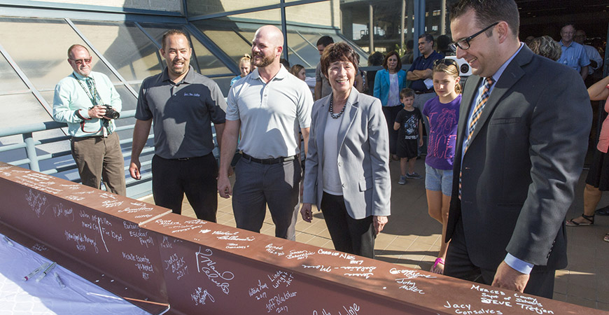 Chancellor Dorothy Leland, Mayor Mike Murphy and others at the Downtown Campus Center event.