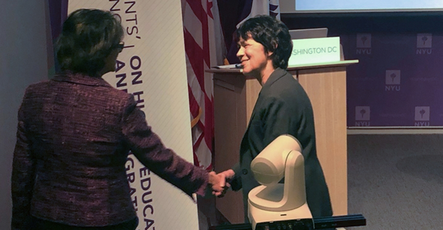 Chancellor Dorothy Leland with California Congresswoman Lucille Roybal-Allard at the first convening of the Presidents' Alliance on Higher Education and Immigration.