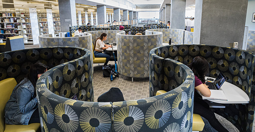 The fourth floor of Kolligian Library has been newly designed to add more than 200 seats for students to study.