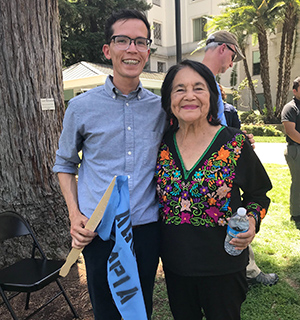 Luce fellow Ivan Soto and activist Dolores Huerta at a rally at the State Capitol to support drinking water  policy work.