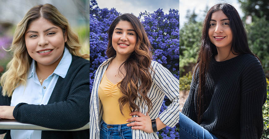 From left: Leslie Barrera Morales, Deanna Morfin-Chavez and Andrea Molina credit the KIPP and College Track programs for helping them not only get into UC Merced, but also succeed inside and outside the classroom.