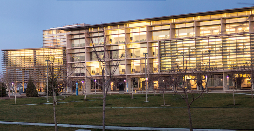 The exterior of the Leo and Dottie Kolligian Library at UC Merced is seen on the evening of Jan. 27, 2014.
