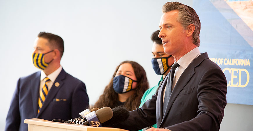 Gov. Gavin Newsom speaking at UC Merced on Monday, announced that the state will support the building of the university's new medical education building.