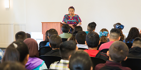 Rigoberta Menchú Tum speaks with fifth graders from Planada Elementary about what inspires her.