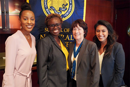 From left: Domonique Jones ('16), Lande Ajose, senior higher education policy advisor to Governor Gavin Newsom, Chancellor Leland and Danielle Armedilla ('12), UC Merced Chief of Staff, External Relations.