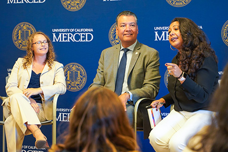 "UC Merced Professor Jessica Trounstine and Secretary of State Alex Padilla took part in a ""fireside chat"" with students and community members."