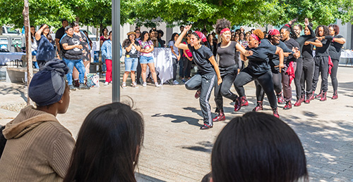 UC Merced's Step Team was among the performers at the opening ceremony for the Multicultural Center last month.