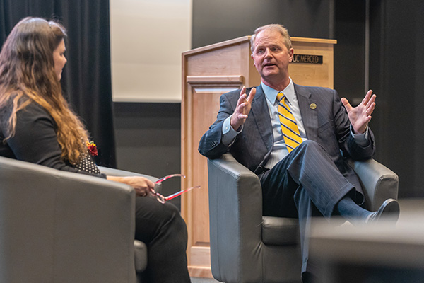 Interim Chancellor Nathan Brostrom took part in a Q&A with UC Merced Board of Trustees chair Denise Watkins following the Chancellor's Address.