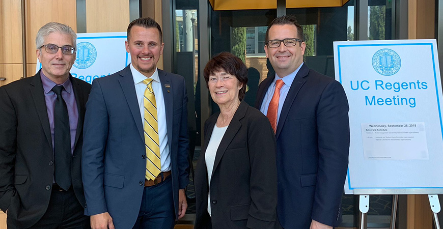 From left: Interim SSHA Dean Jeff Gilger, alumnus Michael Pierick ('16), Chancellor Dorothy Leland and Merced Mayor Mike Murphy at Wednesday's UC Board of Regents meeting.