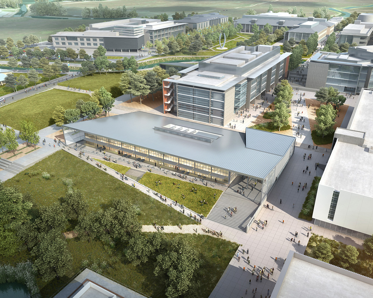An artist's rendering shows what the campus will look like when the project is complete.