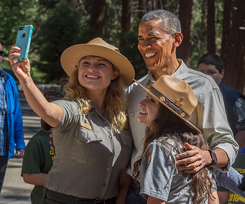 Rangers Jessica Rivas, left, and Alejandra Guzman got to take a selfie with the president.