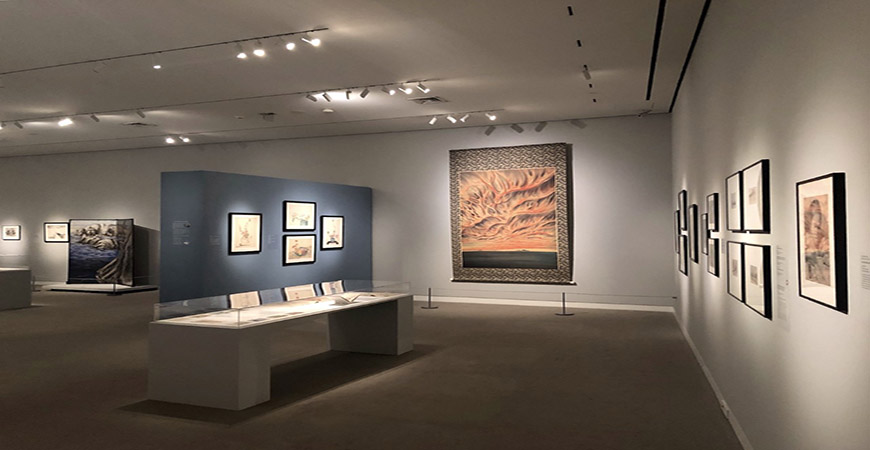 "ShiPu Wang's curated exhibition titled ""Chiura Obata: An American Modern"" on display at the Crocker Museum in Sacramento."