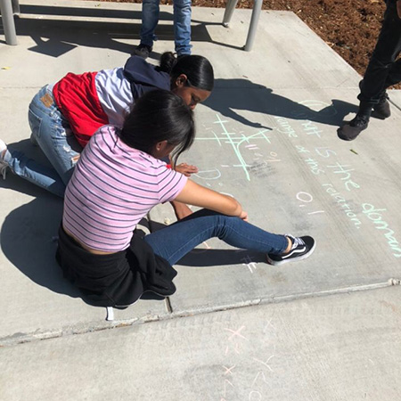 Outside activities like playing with chalk helped students learn mathematics.