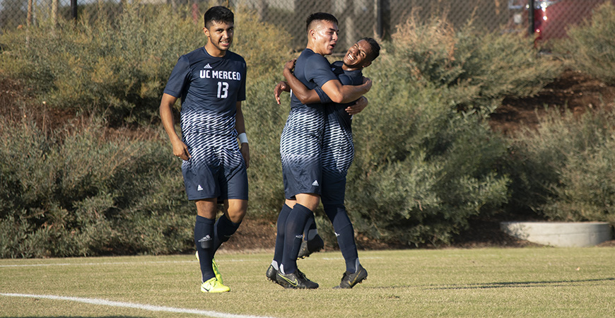 The UC Merced men's soccer team's 6-0 victory over Cal Maritime on Saturday clinched the Cal Pac title for the Bobcats.