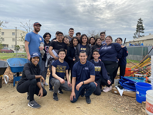 UC Merced students in the Leadership & Service Living Learning Community gather after completing their community service work with The Watershed Project in Richmond.