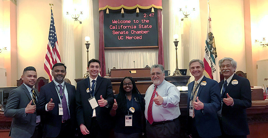 UC Merced supporters on the Senate floor