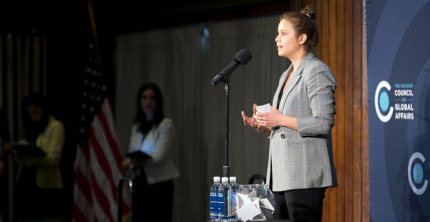 Vicky Espinoza presents her story at a recent symposium.