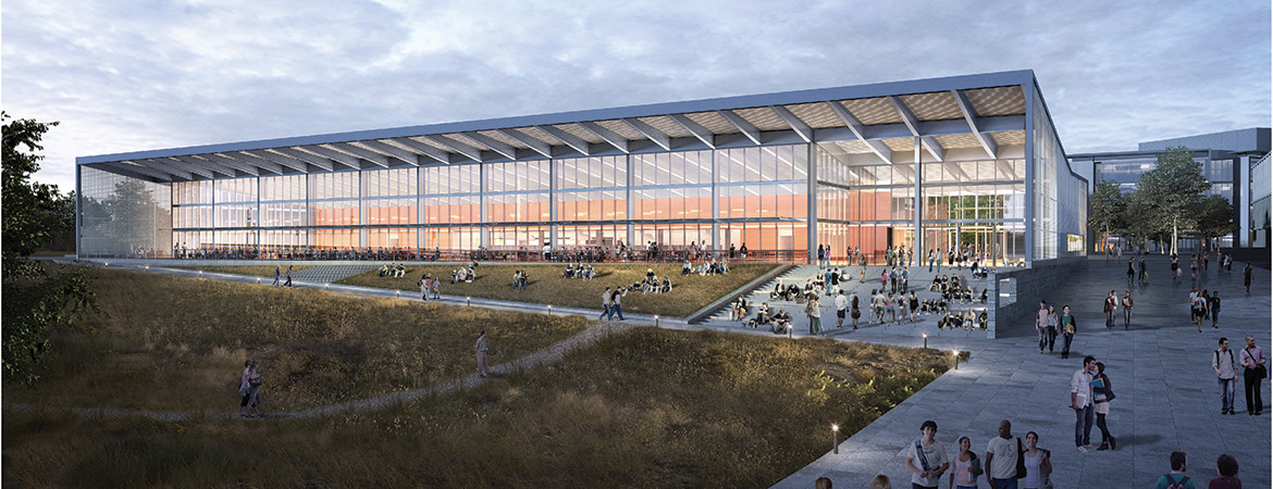 A rendering of UC Merced's new dining center, currently under construction.