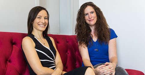 Professors Sarah Loebman, left, and Anna Nierenberg, right