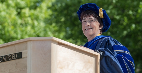 Chancellor Dorothy Leland delivered the keynote address at UC Merced's commencement ceremonies May 18 and 19.