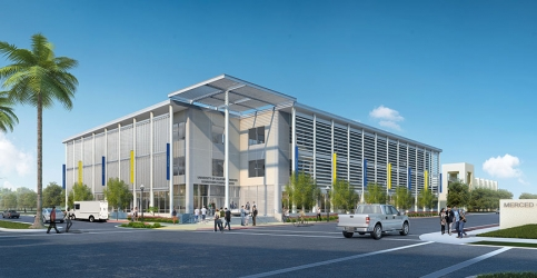 artist rendering of downtown building with palm tree